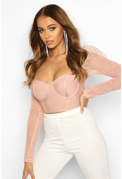 Blush pink Mesh Shirred Puff Sleeve Bandage Crop Top