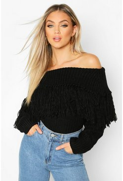 Black Bardot Fringe Detail Jumper