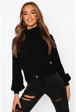 Black svart Rib Knit Roll Neck Balloon Sleeve Jumper