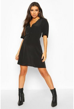 Black Woven Button Thru Flatter Sleeve Skater Dress
