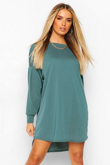 Teal green Gathered Drop Shoulder Sweat Dress
