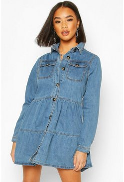Indigo blue Long Sleeve Denim Smock Dress