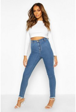 Mid blue blue High Rise Frayed Hem Disco Skinny Jean