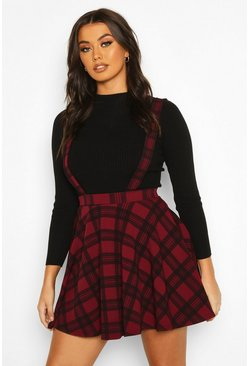 Berry red Tartan Check Pinafore Skirt