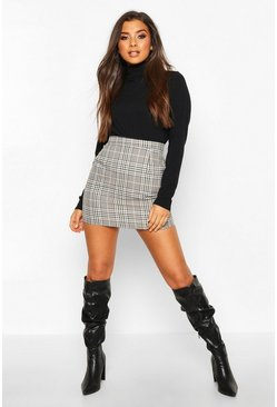 Sand beige Tonal Check A Line Mini Skirt