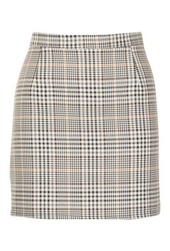 Sand Tonal Check A Line Mini Skirt