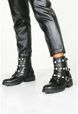 Black Pearl Triple Buckle Lace Up Hiker Boots