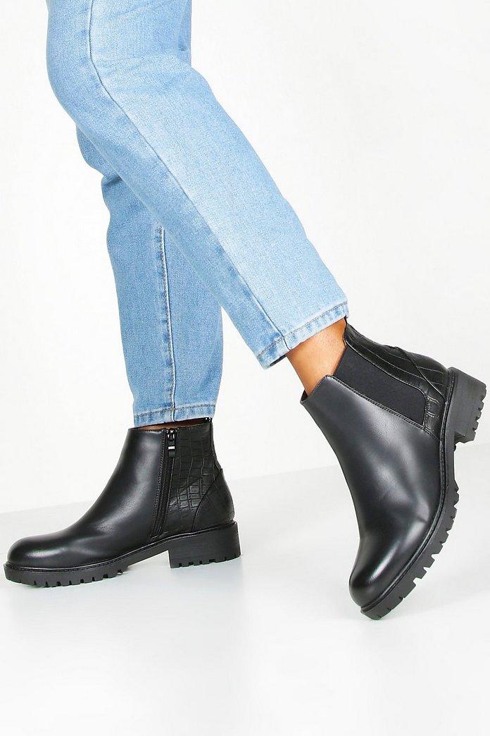 Croc Block Heel Chunky Chelsea Boots | boohoo