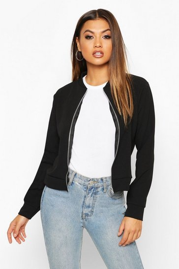 Black Zip Through Bomber Jacket
