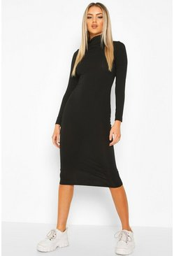 Black Ribbed Roll Neck Midi Dress