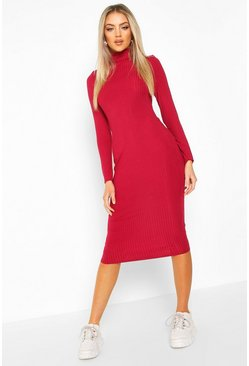 Raspberry pink Ribbed Roll Neck Midi Dress