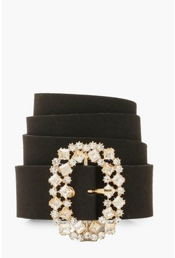 Black Oval Diamante Buckle Belt