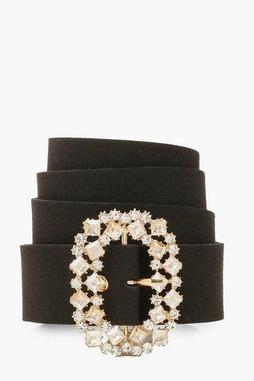 Black Oval Diamante Buckle Belt