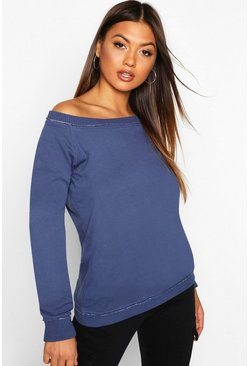 Indigo blue Bardot Raw Edge Detail Sweat
