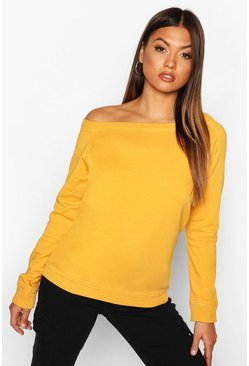 Mustard yellow Bardot Raw Edge Detail Sweat
