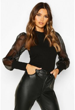Black Organza Mesh Long Sleeve Top