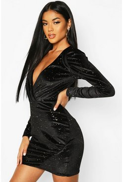 Black Glitter Velvet Full Sleeve Mini Dress