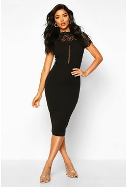 High Neck Lace Trim Midi Dress, Black nero