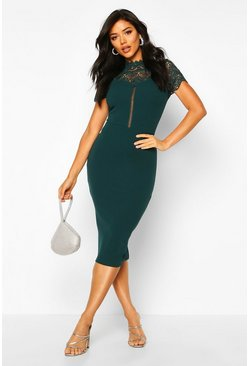 Bottle green green High Neck Lace Trim Midi Dress