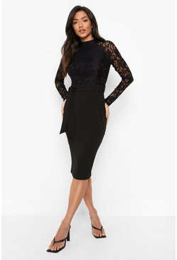 Black High Neck Long Sleeve Lace Midi Dress