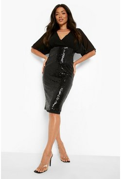 Black Batwing Top Sequin Skirt Midi