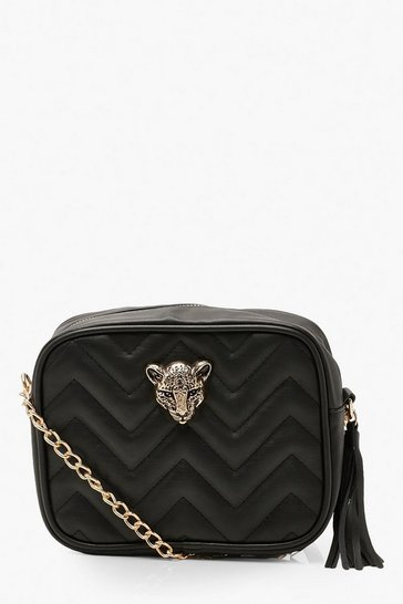 Black Cheetah Hardware Quilted Cross Body Bag