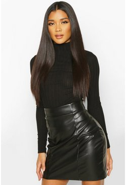 Black Faux Leather Seam Front Mini Skirt