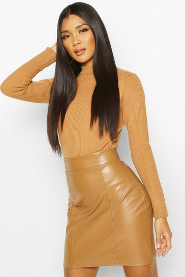 Camel beige Leather Look Seam Front Mini Skirt