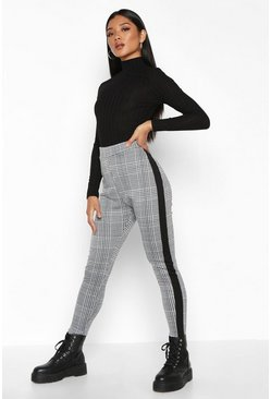 Black Contrast Mini Check Jacquard Treggings