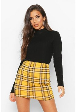 Mustard yellow Tartan Check Basic Jersey Mini Skirt