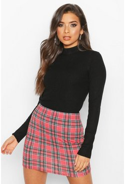 Berry Tartan Check Basic Jersey Mini Skirt