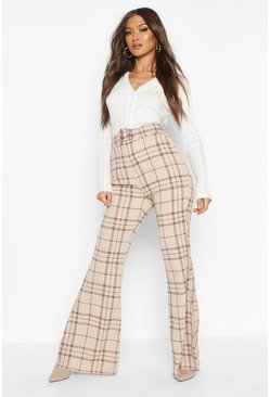 Stone beige Grid Check Belted Flare Pants