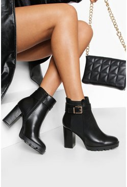 Black Wide Fit Buckle Detail Shoe Boots