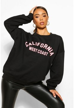 Black California Slogan Oversized Sweatshirt