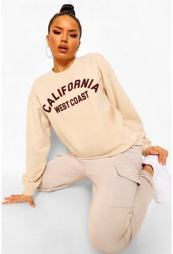 Ecru California Slogan Oversized Sweatshirt