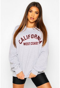 Sweat oversize slogan California, Écru blanc
