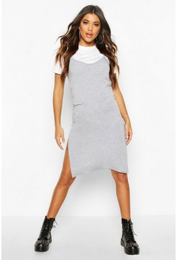 Grey marl grey Jersey Slip Midi Dress
