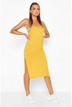 Mustard yellow Jersey Slip Midi Dress