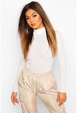Cream white Rib Knit Roll Neck Long Sleeve Bodysuit