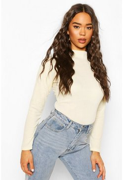 Ecru white Rib Knit High Neck Long Sleeve Bodysuit