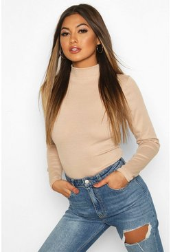 Stone beige Rib Knit High Neck Long Sleeve Bodysuit