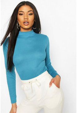 Teal green Rib Knit High Neck Long Sleeve Bodysuit