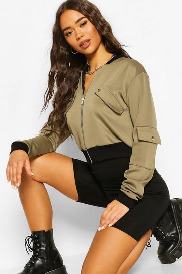 Khaki Pocket Detail Bomber Jacket