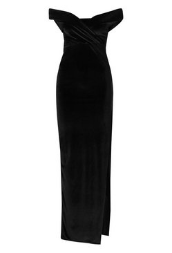 Black Velvet Bardot Maxi Dress