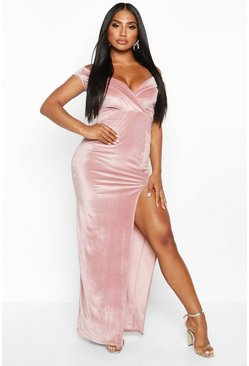 Rose pink Velvet Bardot Maxi Dress