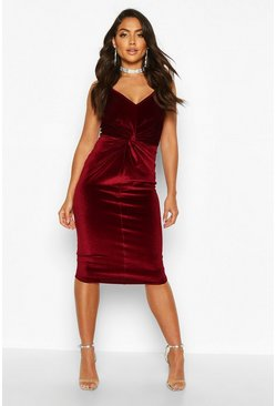 Berry red Velvet Twist Front Bodycon Midi Dress