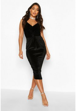 Black Velvet Twist Front Bodycon Midi Dress