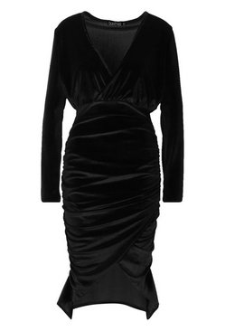 Black Velvet Wrap Ruched Detail Midi Bodycon Dress