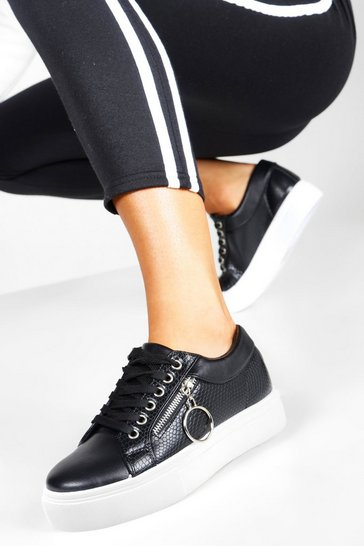 Black Snake Zip Side Chunky Platform Trainers
