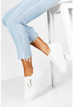 White Snake Zip Side Chunky Platform Trainers